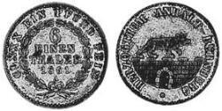 6 Thaler Anhalt-Bernburg (1603 - 1863) Silver Alexander Karl, Duke of Anhalt-Bernburg (1805 – 1863)