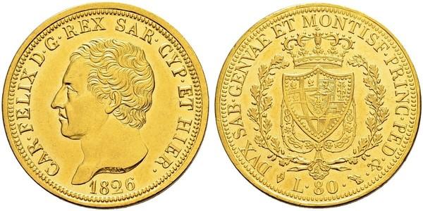 80 Lira Italian city-states Gold Charles Felix of Sardinia