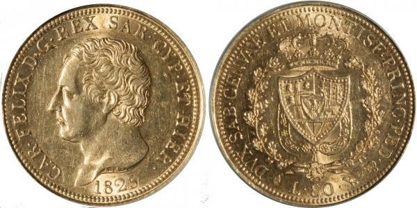 80 Lira Italian city-states Or Charles-Félix de Savoie
