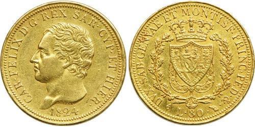80 Lira Italian city-states Oro Carlos Félix de Cerdeña