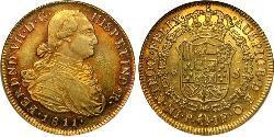 8 Ескудо Нова Ґранада (1717 - 1819) Золото Фердинанд VII король Іспанії (1784-1833)