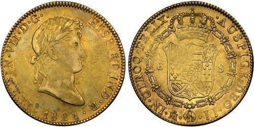 8 Ескудо Перша Мексиканська імперія (1821 - 1823) Золото Фердинанд VII король Іспанії (1784-1833)