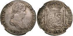 8 Реал Испанские Колонии / Гватемала Серебро Фердинанд VII король Испании (1784-1833)