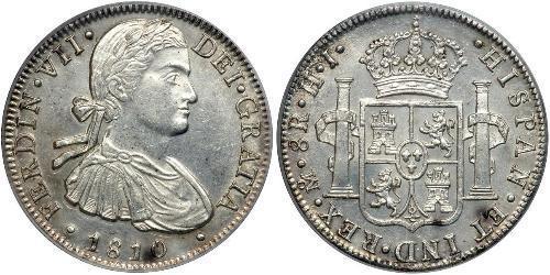 8 Реал Новая Испания (1519 - 1821) Серебро Фердинанд VII король Испании (1784-1833)