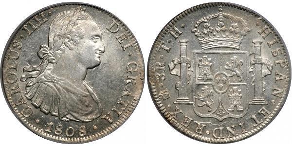 8 Реал Новая Испания (1519 - 1821) Серебро Карл IV король Испании (1748-1819)