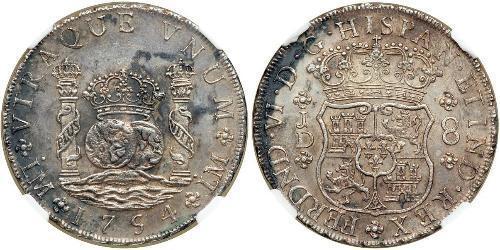 8 Реал Перу / Испанские Колонии Серебро
