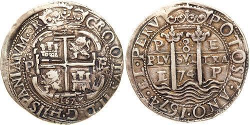 8 Реал Віце-королівство Перу (1542 - 1824) / Болівія Срібло Карл II король Іспанії (1661-1700)