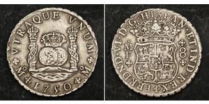 8 Реал Нова Іспанія (1519 - 1821) Срібло Фердинанд VI  король Іспаніі (1713-1759)