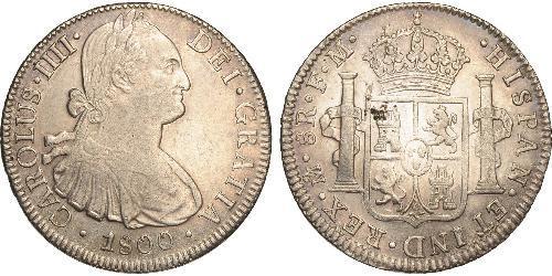 8 Реал Нова Іспанія (1519 - 1821) Срібло Карл IV король Іспанії  (1748-1819)