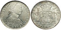 8 Реал Перу Срібло Фердинанд VII король Іспанії (1784-1833)