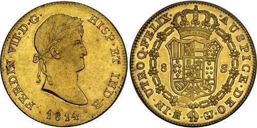 8 Эскудо Королевство Испания (1814 - 1873) Золото Фердинанд VII король Испании (1784-1833)