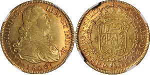 8 Эскудо Новая Гранада (1717 - 1819) Золото Карл IV король Испании (1748-1819)