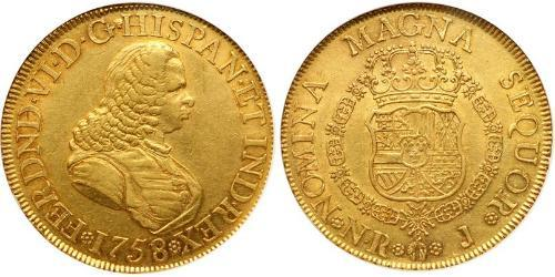 8 Эскудо Новая Гранада (1717 - 1819) Золото Фердинанд VI  король Испании (1713-1759)