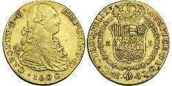8 Эскудо Перу Золото Карл IV король Испании (1748-1819)