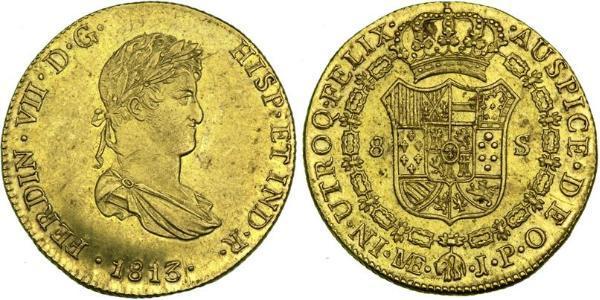 8 Эскудо Перу Золото Фердинанд VII король Испании (1784-1833)
