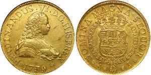 8 Эскудо Чили Золото Фердинанд VI  король Испании (1713-1759)