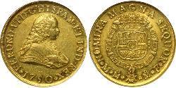 8 Escudo 新西班牙總督轄區 (1535 - 1821) 金 费尔南多六世 (1713-1759)