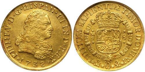 8 Escudo 新西班牙總督轄區 (1535 - 1821) 金 Philip V of Spain(1683-1746)