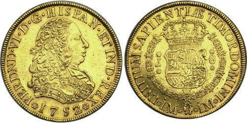 8 Escudo 秘鲁 金 费尔南多六世 (1713-1759)
