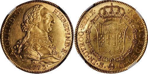 8 Escudo 西班牙帝國 金 卡洛斯三世 (西班牙) (1716 -1788)