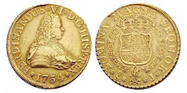 8 Escudo Chile Gold Ferdinand VI of Spain (1713-1759)