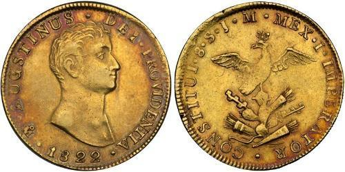 8 Escudo First Mexican Empire (1821 - 1823) Gold Agustín de Iturbide (1783 - 1824)