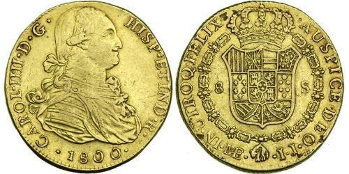 8 Escudo Peru Gold Charles IV of Spain (1748-1819)