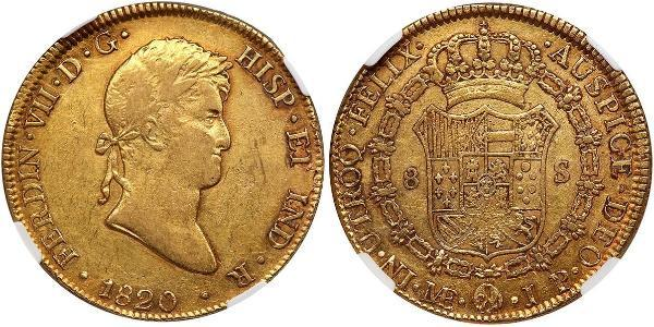 8 Escudo Peru Gold Ferdinand VII of Spain (1784-1833)