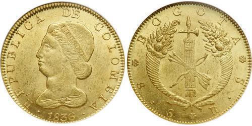 8 Escudo Republic of New Granada (1831–1858) Gold
