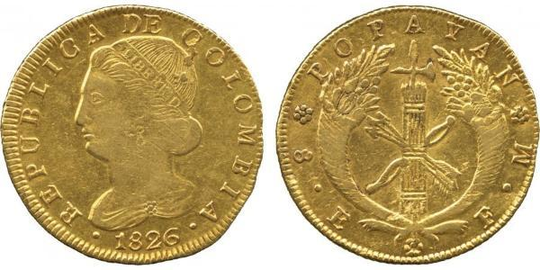 8 Escudo Republik Neugranada (1831–1858) Gold
