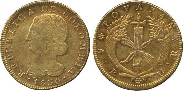 8 Escudo Republik Neugranada (1831–1858) Gold