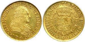 8 Escudo Spanish Mexico  / Kingdom of New Spain (1519 - 1821) Gold Philip V of Spain(1683-1746)