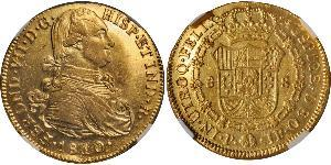 8 Escudo Viceroyalty of New Granada (1717 - 1819) Gold Ferdinand VII of Spain (1784-1833)