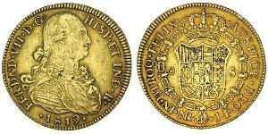 8 Escudo Viceroyalty of New Granada (1717 - 1819) Gold Ferdinand VII of Spain (1784-1833)