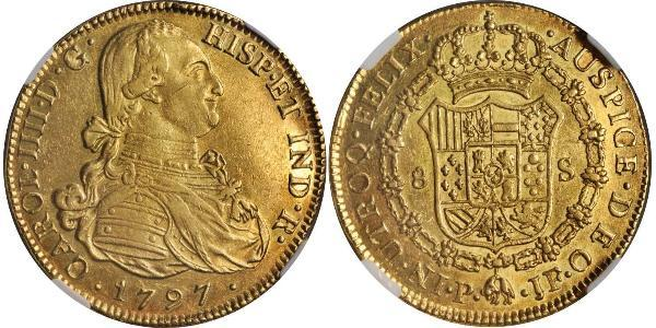 8 Escudo Viceroyalty of New Granada (1717 - 1819) Gold Charles IV of Spain (1748-1819)