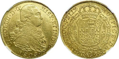 8 Escudo Vizekönigreich Neugranada (1717 - 1819) Gold Karl IV (1748-1819)