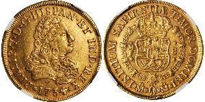 8 Escudo Vizekönigreich Neuspanien (1519 - 1821) Gold Philip V von Spanien (1683-1746)