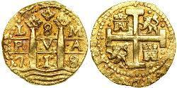 8 Escudo Peru Messing Philip V von Spanien (1683-1746)