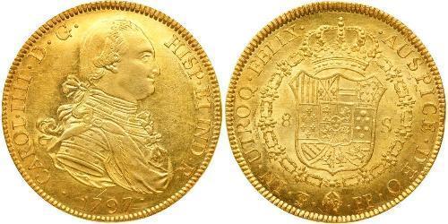 8 Escudo Bolivie Or Charles IV d