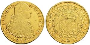 8 Escudo Vice-royauté de Nouvelle-Grenade (1717 - 1819) Or Charles IV d