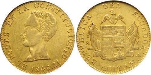 8 Escudo Ecuador Oro Simon Bolivar (1783 - 1830)