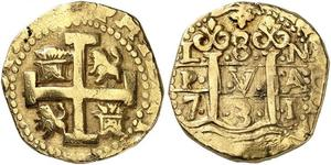 8 Escudo Perù Oro Filippo V di Spagna (1683-1746)