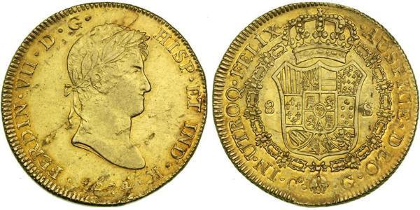 8 Escudo Perù Oro Ferdinando VII di Spagna (1784-1833)