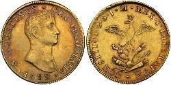 8 Escudo Primer Imperio Mexicano (1821 - 1823) Oro Agustín de Iturbide (1783 - 1824)