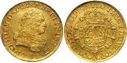 8 Escudo Virreinato de Nueva España (1519 - 1821) Oro Felipe V de España (1683-1746)