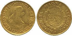 8 Escudo Vicereame della Nuova Granada (1717 - 1819) Oro Ferdinando VI di Spagna (1713-1759)