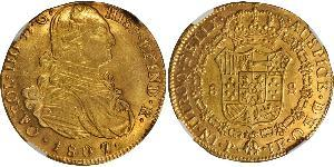 8 Escudo Vicereame della Nuova Granada (1717 - 1819) Oro Carlo IV di Spagna (1748-1819)