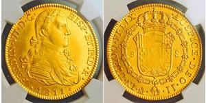 8 Escudo Virreinato de Nueva España (1519 - 1821) Oro Fernando VII de España (1784-1833)