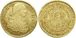 8 Escudo Virreinato de Nueva Granada (1717 - 1819) Oro Carlos IV de España (1748-1819)