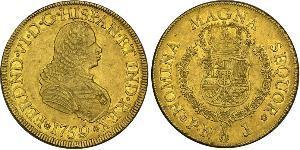 8 Escudo Virreinato de Nueva Granada (1717 - 1819) Oro Fernando VI de España (1713-1759)
